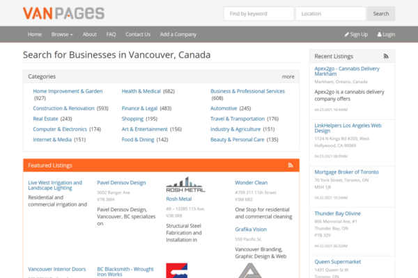 Vanpages - Vancouver Business Directory