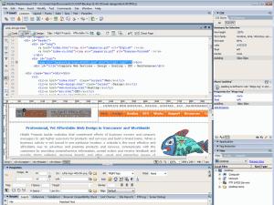 web design dreamweaver screenshot