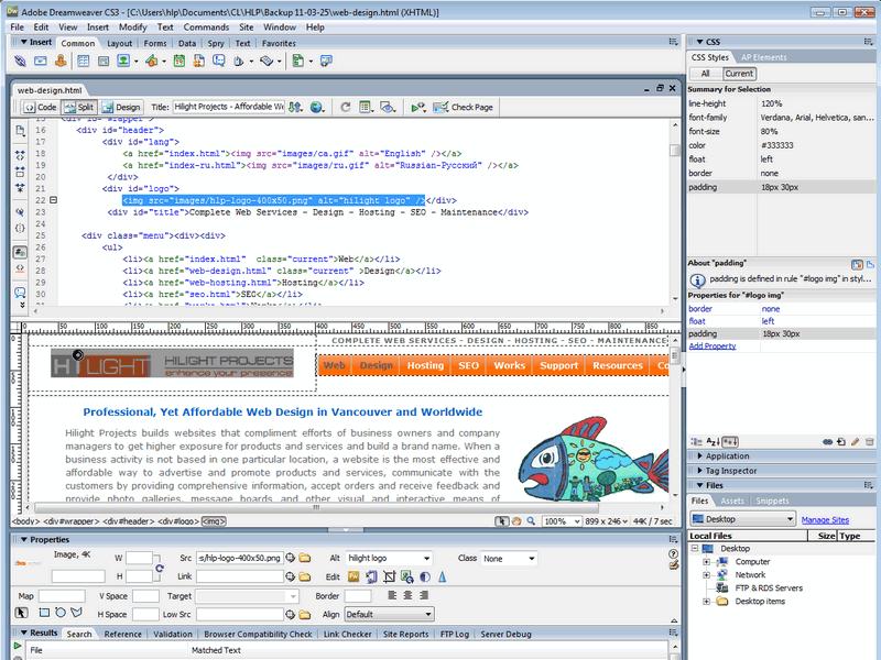 Web Design Dreamweaver Screenshot Hilight Projects