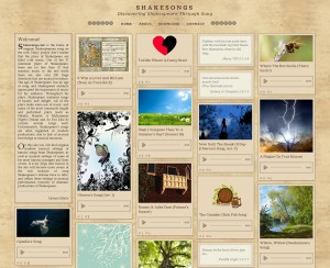 website screenshot shakespear songs