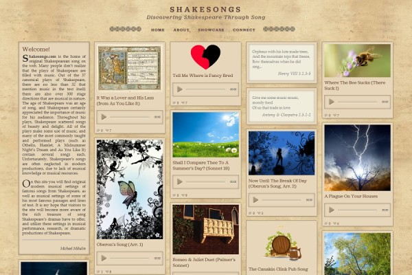 website screenshot shakespear songs
