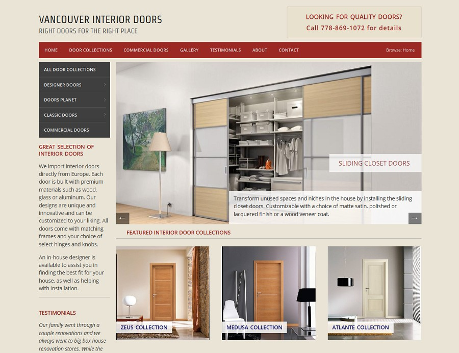 website screenshot vancouver interior doors